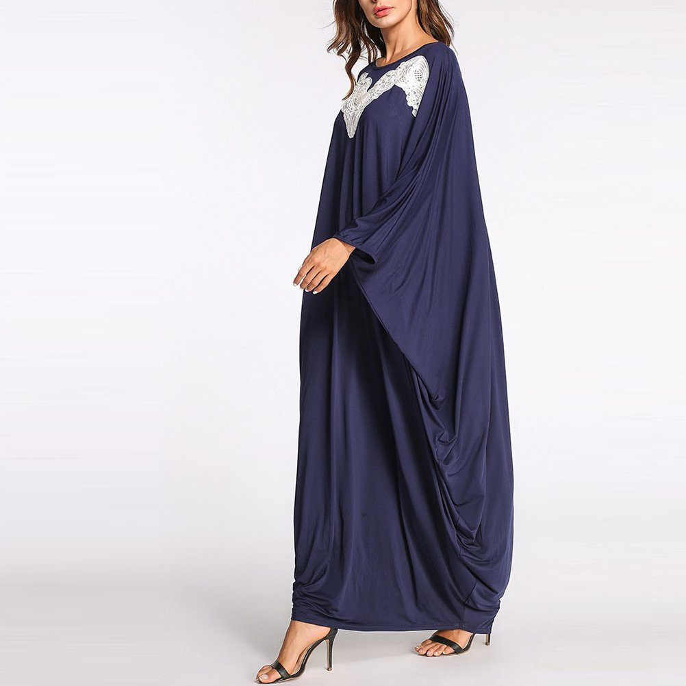 Zhuhaitf Loose Womens Malaysia Dubai Kaftan Casual Long Dress Abaya Tunic Muslim Robe at Amazon Womens Clothing store: