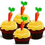 Made4You Carrot Cake! - Edible Cupcake Toppers - Stand-up Wafer Cake Decorations (Pack of 24)