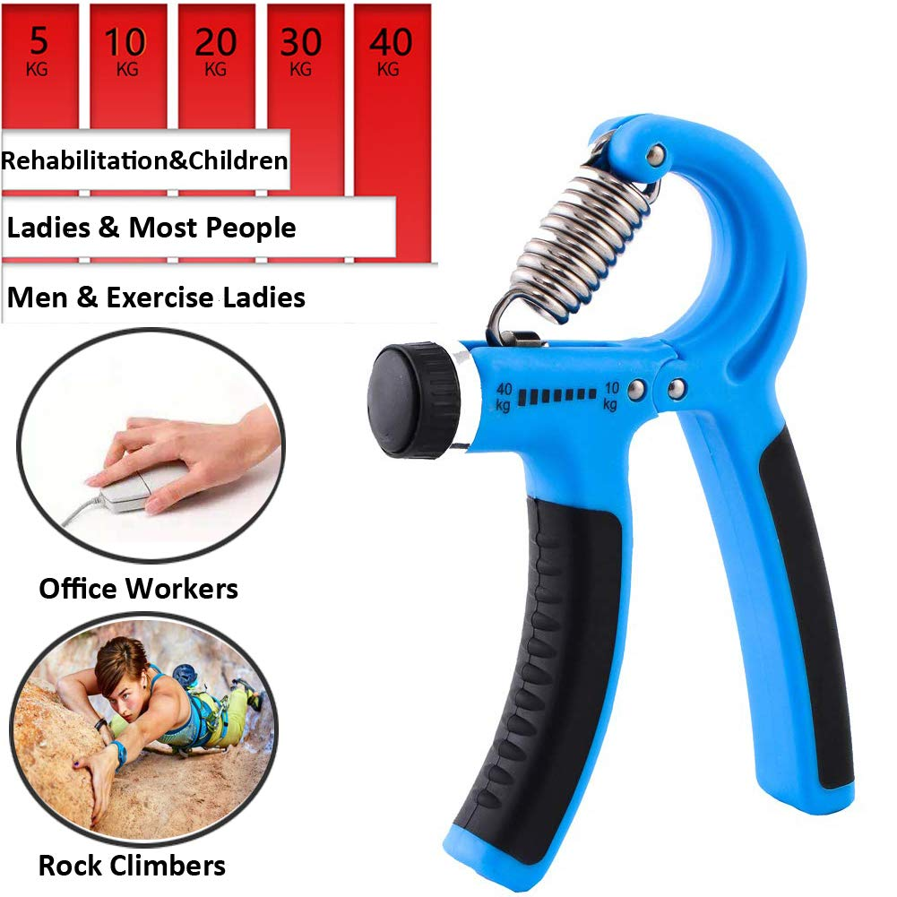Apret/ón de Mano Rango de Resistencia of 22-88lbs,Hand Grip para Los Adolescentes,Los Atletas para Aumentar la Fuerza LUOLLOVE Agarre de Mano Ajustable Azul