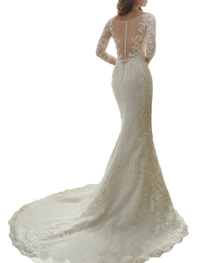 Cardol Flower Appliques Mermaid Half Sleeves Lace Wedding Dresses ...