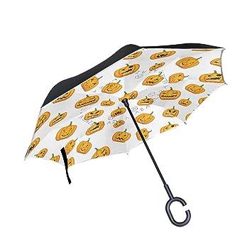 jstel doble capa puede Halloween calabaza Emoji paraguas coches Reverse resistente al viento lluvia paraguas para
