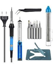 Zacro Saldatore Elettrico Stagno Professionale Kit 6 in 1 Regolabile Temperatura 60W 220V con 5 Pezzi Backup, Pinzette Antistatiche, Tubo Saldato, Tecnologia di Saldatura Elettrica Precisa