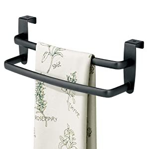 "mDesign Modern Kitchen Over Cabinet Strong Steel Double Towel Bar Rack - Hang on Inside or Outside of Doors - Storage and Organization for Hand, Dish, Tea Towels - 9.75"" Wide - Matte Black"