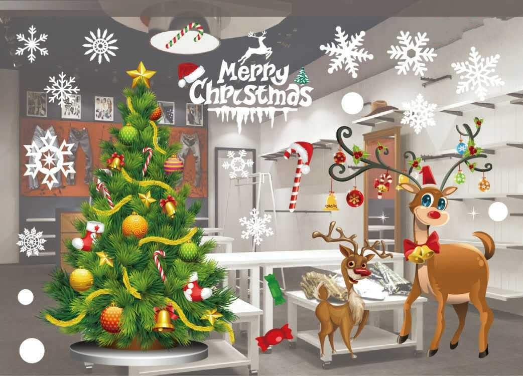 JCT Christmas Window Stickers Decorations Clings Decal Colorful Santa Removable Large Wall Windows Door Mural Clings For Marry Christmas Showcase, Holidays Xmas Decoration 55 X 38cm /21.6 X 15'' (807) jct gift