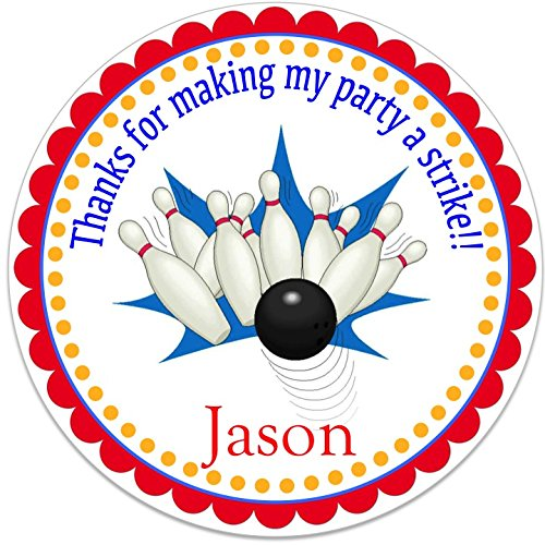 """40 Round Labels 2"""" Personalized Bowling Pin Birthday Stickers, Custom Hangtags, Party Favors Labels, Cupcake Toppers, Choice Of Size"""
