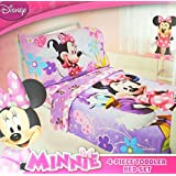 Disney Minnie Mouse and Daisy Duck 4 Piece Toddler Bed Bedding Set