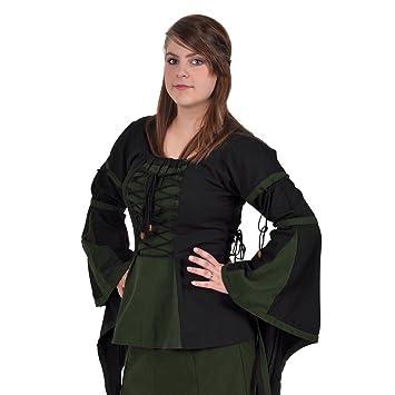 Ropa medieval - Blusa en estilo de lino - negra y verde - L