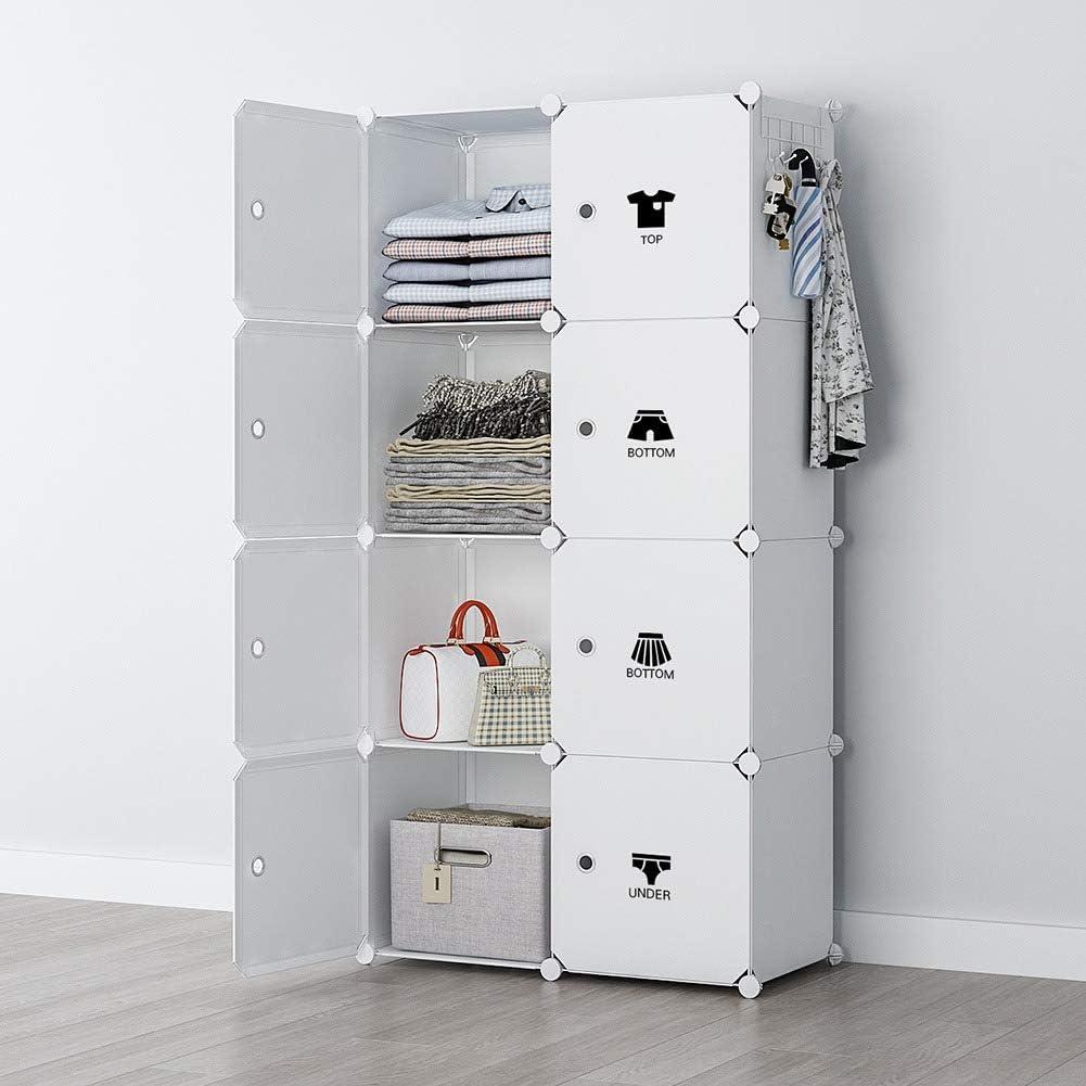 YOZO Modular Wardrobe Portable Clothes Closet Chest Drawer Polyresin Storage Organizer Bedroom Armoire Cubby Shelving Unit Dresser Multifunction Cabinet DIY Furniture, White, 8 Cubes
