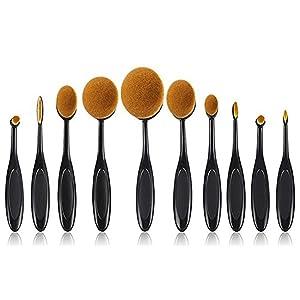 Xiton Makeup Brush 10 pieces Makeup Brush Set Soft Oval Toothbrush Shaped Foundation Contour Brush Powder Blush Conceler Eyeliner Blending Brush Cosmetic Brushes Tool Set