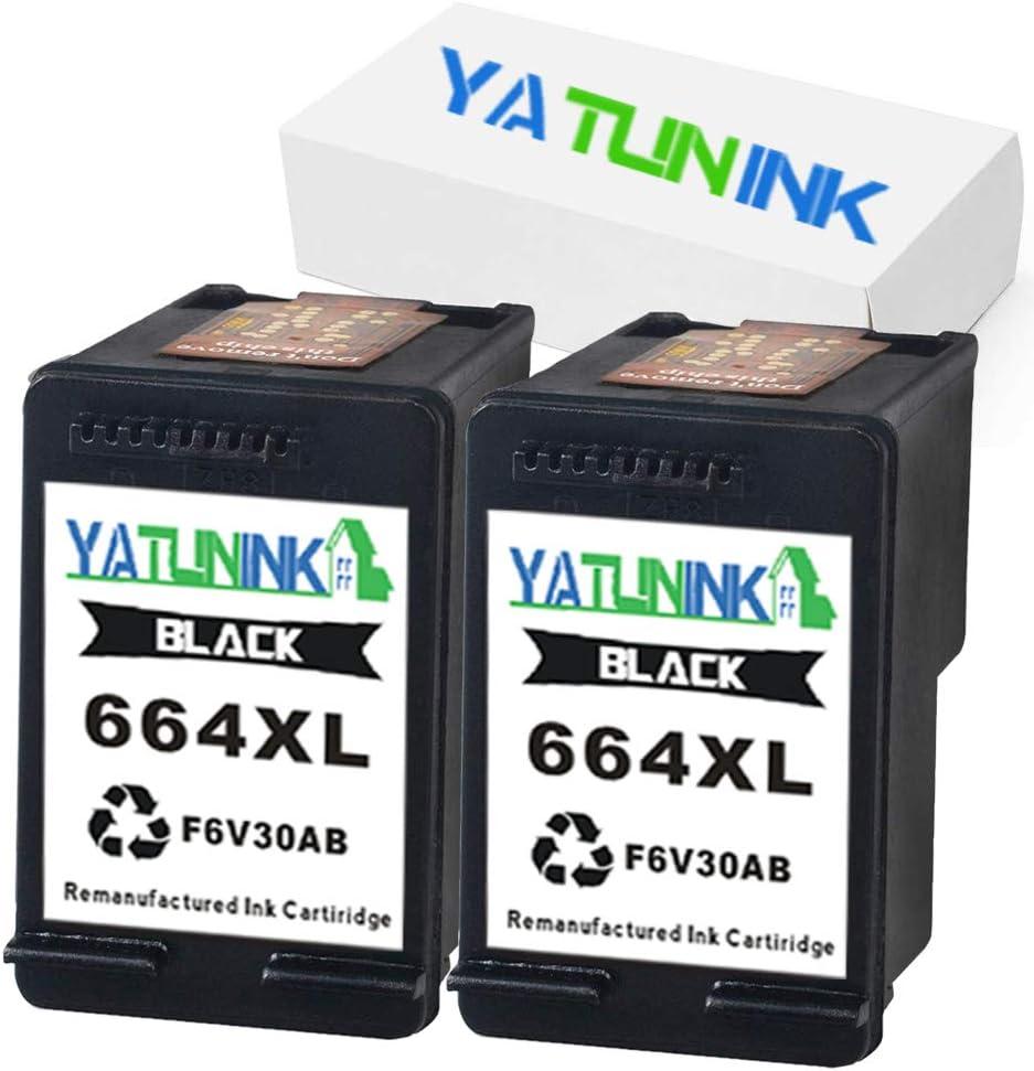 YATUNINK Remanufactured 664xl Ink Cartridge Replacement for HP 664XL 664 XL Black Ink F6V30A for Deskjet Ink Advantage 3635 3636 3638 4535 4536 4538 4675 4676 4678 1115 2135 2138 Printer(2 Black)