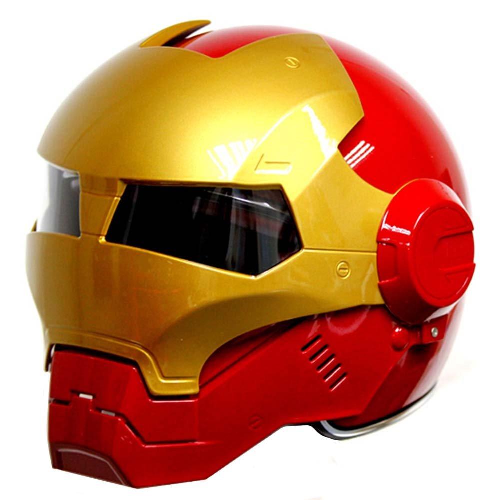 Rojo Oro Motocicleta Iron-Man Hero Casco Cool Modular hasta FIP Casco Casco de Seguridad, Rojo y Dorado: Amazon.es: Bricolaje y herramientas