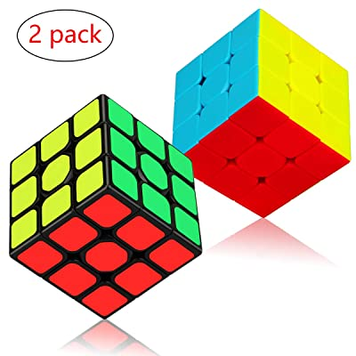 Speed Cube Set, Apfity Magic Cube Bundle 3x3x3 Cube Sticker & Stickerless Puzzle Cubes Collection Toy for Kids (2 Pack): Toys & Games