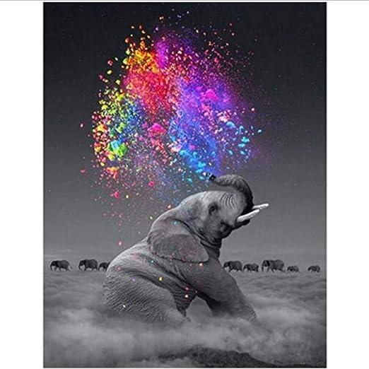 Gerahmt Malen nach Zahlen f/ür Kinder und Erwachsene DIY-/Ölgem/älde-Kit Familie der Elefanten 16 x 20 Zoll