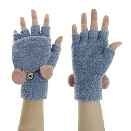 Women Girls 2 In 1 Knitted Winter Short Half Finger Full Gloves Mittens