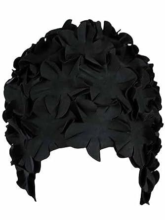 4a062645417 Luxury Divas Black Latex Bathing Cap With Petals at Amazon Women's ...