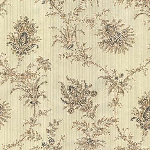 Papel de Parede Clássico Colonial Floral Opera Finottato - Rolo de 10m Bege/Cinza
