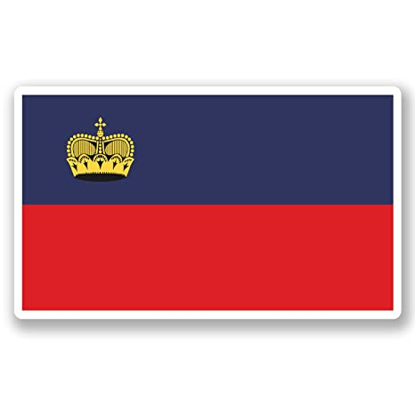 2 x 10 cm) vinilo diseño bandera Liechtenstein iPad ordenador portátil coche viaje equipaje #