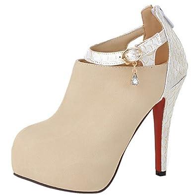 Zanpa Women Fashion Stiletto Party Shoes Autumn Bootie Ankle Strap Beige Size 34 Asian