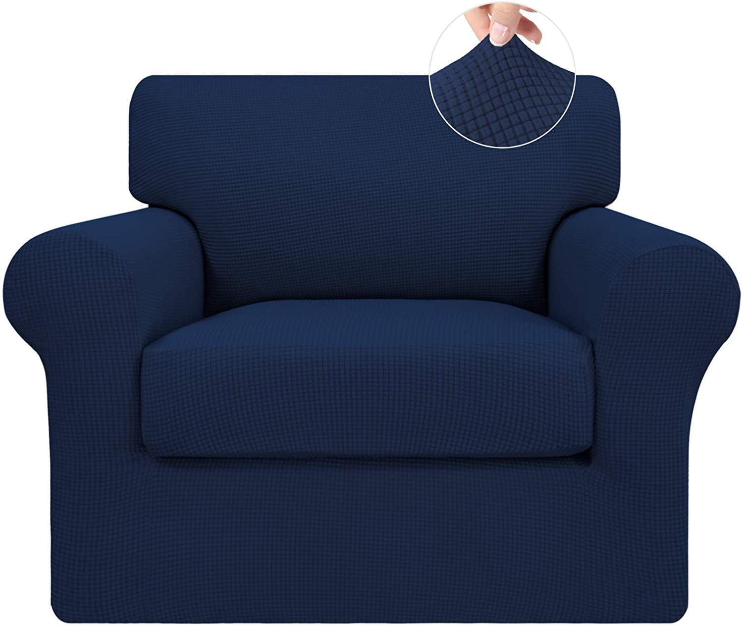 Easy-Going 2 Pieces Stretch Couch Cover Sofa Cover for Dogs Washable Sofa Slipcover for Separate Cushion Couch Spandex Jacquard Fabric Elastic Furniture Protector for Pets,Kids(Navy, Chair)