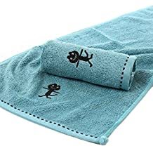 Omkuwl Face Towels 34*75cm Black Cat Bamboo Fiber Bath Towel Thicken Face Towel Soft Material navy blue