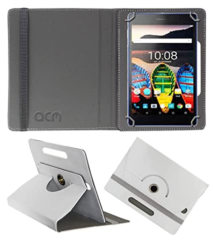 Acm Rotating Leather Flip Case Compatible with Lenovo Tab 3 730x Tablet Cover Stand White Tablet Accessories