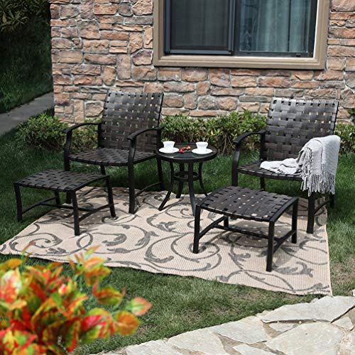 PHI VILLA 5 Piece Leather-Ware Outdoor Patio Conversation Set with 2 Chairs 2 Ottomans and Glass Coffee Table - Leather Outdoor Ottoman
