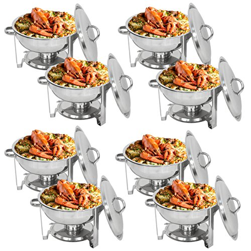 ZENY Pack of 8 Round Chafing Dish Full Size 5 Quart Stainless Steel Deep Pans Chafer Dish Set Buffet Catering Party Events Warmer Serving Set Utensils w/Fuel ()