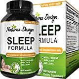 Sleep Formula with Magnesium and Gaba Supports Deep Uninterrupted Sleep and Fights Fatigue Non Addictive Supplement for men and women with L-Theanine Pure Herbal Ingredients by Natures Design