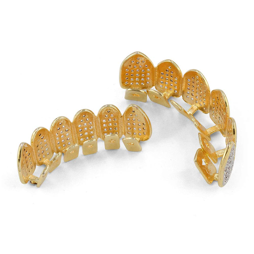 JAJAFOOK 18k Gold Plated All Iced Out Luxury Rhinestone Gold Grillz Set with Extra Molding Bars