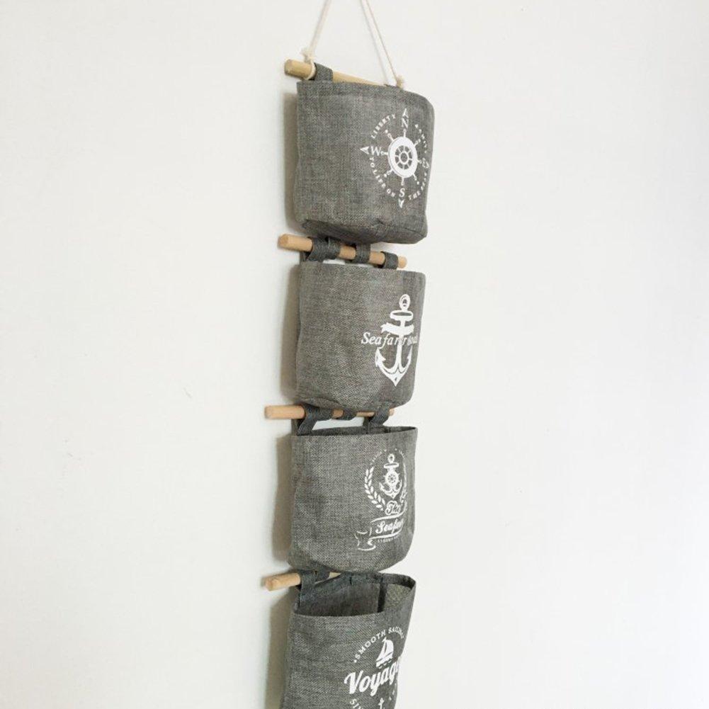 LAAT 4 pcs Tenture murale suspendue organisateur poches murales coton tenture suspendue combinaison suspendue poche gadget pochette salle de bain mur ustensile porte arri/ère sac de rangement