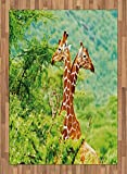 Africa Area Rug by Lunarable, Giraffes Fighting with Their Neck in the Tropical Savannah Habitat Nature Photo, Flat Woven Accent Rug for Living Room Bedroom Dining Room, 5.2 x 7.5 FT, Green Orange