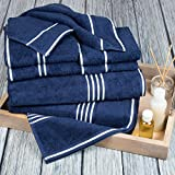 Bedford Home Rio 8-Piece Egyptian Cotton Towel Set, Navy