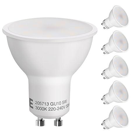 LE Bombilla LED GU10 5W=60W Halógeno 400lm Blanco Cálido, 5 Unidades