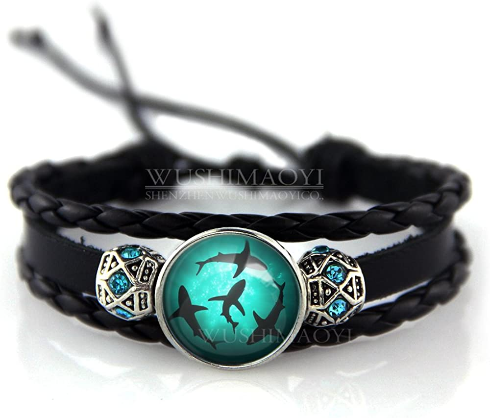 WUSHIMAOYI Circling Sharks Bracelet Personalized Jewelry Leather Bracelet Gifts Customize Your Own Style
