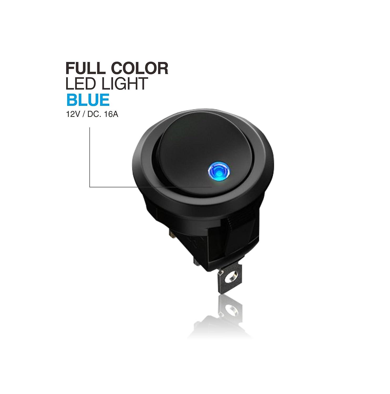 AutoEC 10 Pcs Interruptores de Coche, Indicador Led Azul SPST 12 V 20 A Control On/Off, de Alta Calidad, Para Vehículos, Dispositivos Electrónicos de Barcos ...