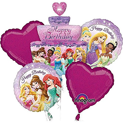 Princess Party Birthday Cake Bouquet Balloons 5 pieces -