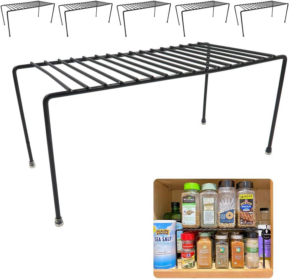 Evelots Kitchen Cabinet/Counter Shelf-Organizer-Double Space-Black Metal-Set/6