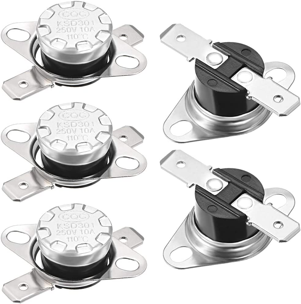 uxcell KSD301 Thermostat 110°C/230°F 10A Normally Closed N.C Snap Disc Temperature Switch for Microwave,Oven,Coffee Maker,Smoker 5pcs