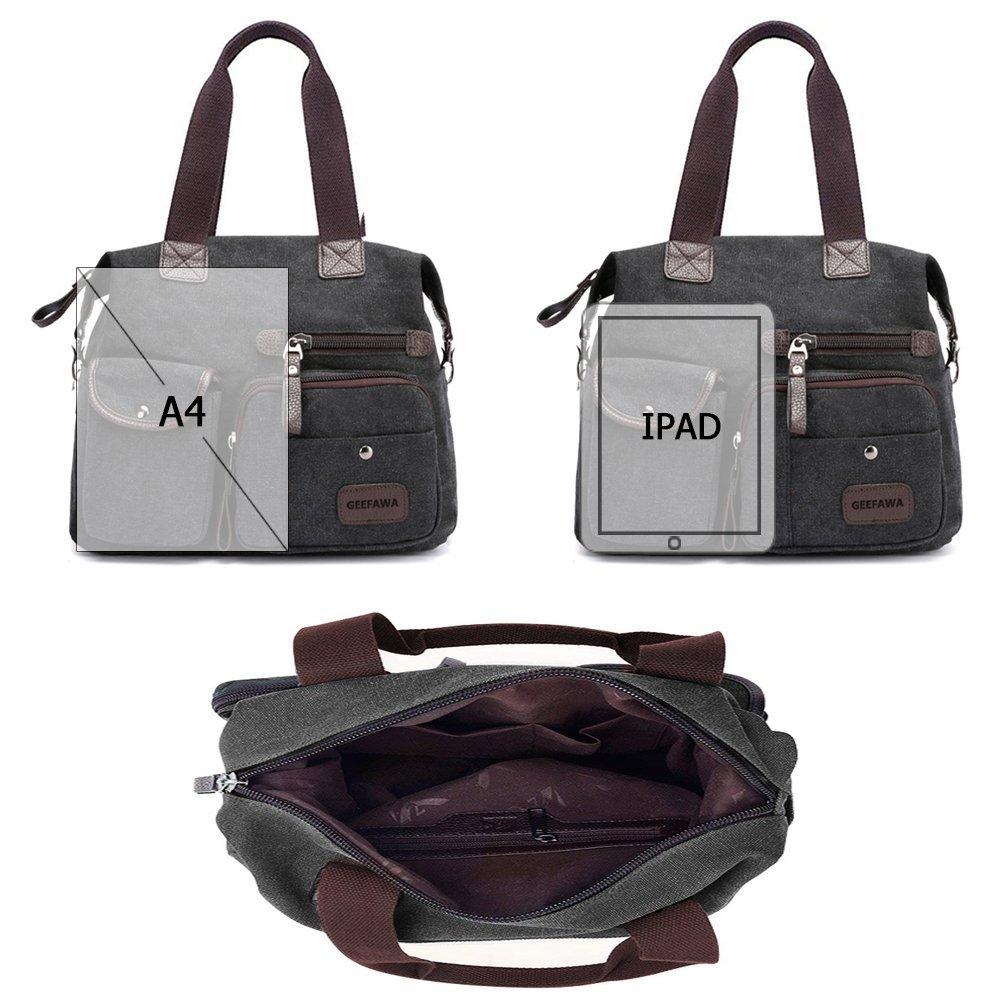 Women's Canvas Tote Bag Top Handle Bags Shoulder Handbag Tote Shopper Handbag crossbody bags (Black) by Greatbuy-US (Image #6)