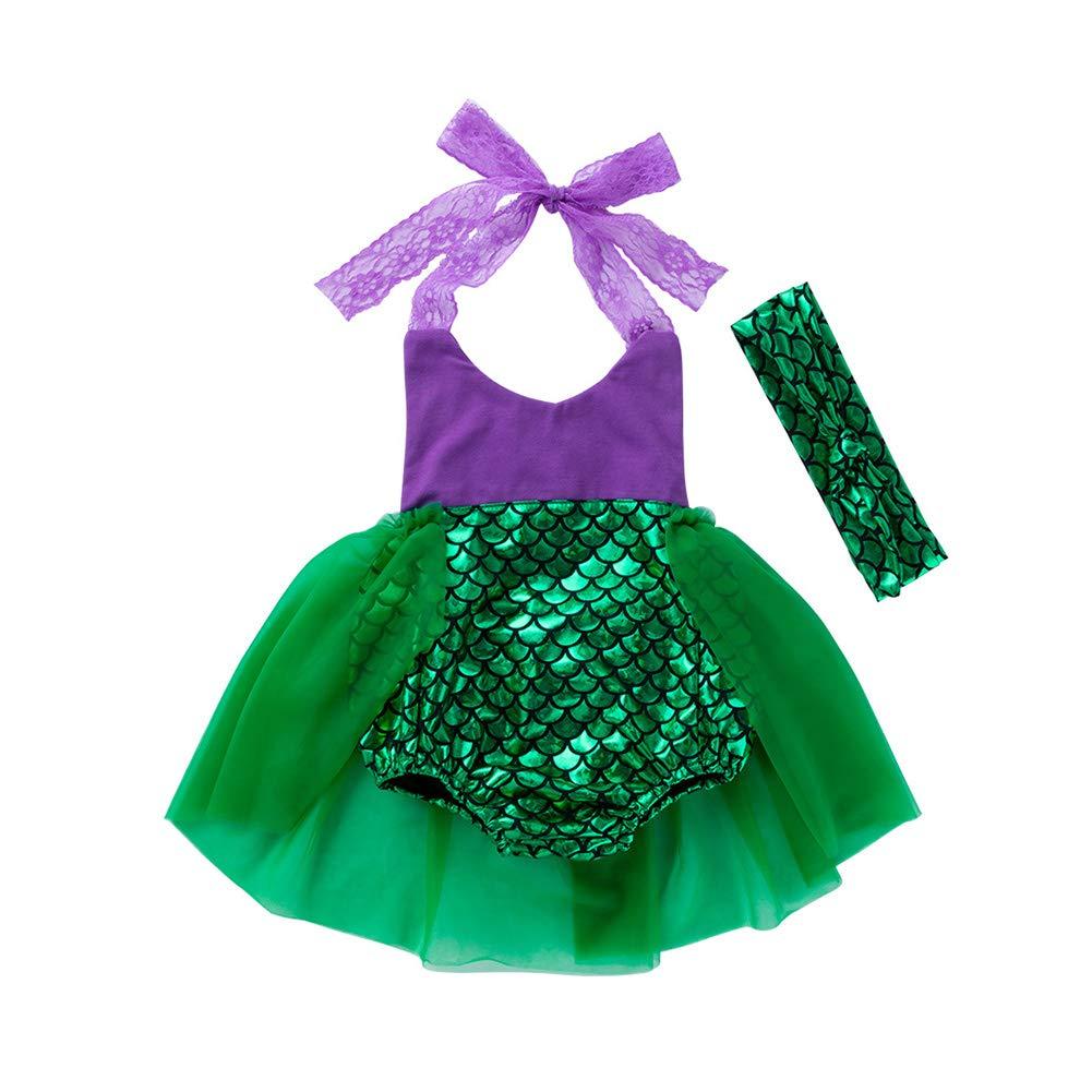 Baby Girl Mermaid Romper Purple Lace Halter Ruffle Tutu Skirt Jumpsuit Sunsuit Outfit with Headband 80cm 2Pcs