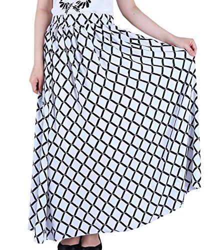 Favelem Women Floral Full Length Pleated Maxi Chiffon Long Skirts(XL,Plaid)602-4