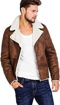 Herren Lederjacke Vintage Dicke und Warme Kunstlederjacke mit Pelzkragen Slim Fit Braune Freizeit Jacke Winter Modern
