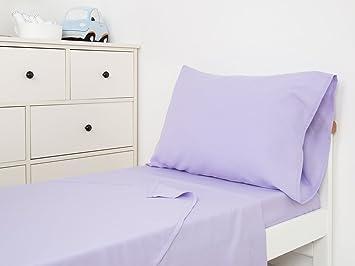 TILLYOU 3 Piece Microfiber Toddler Sheet Set (Lilac, Fitted Sheet, Top Flat