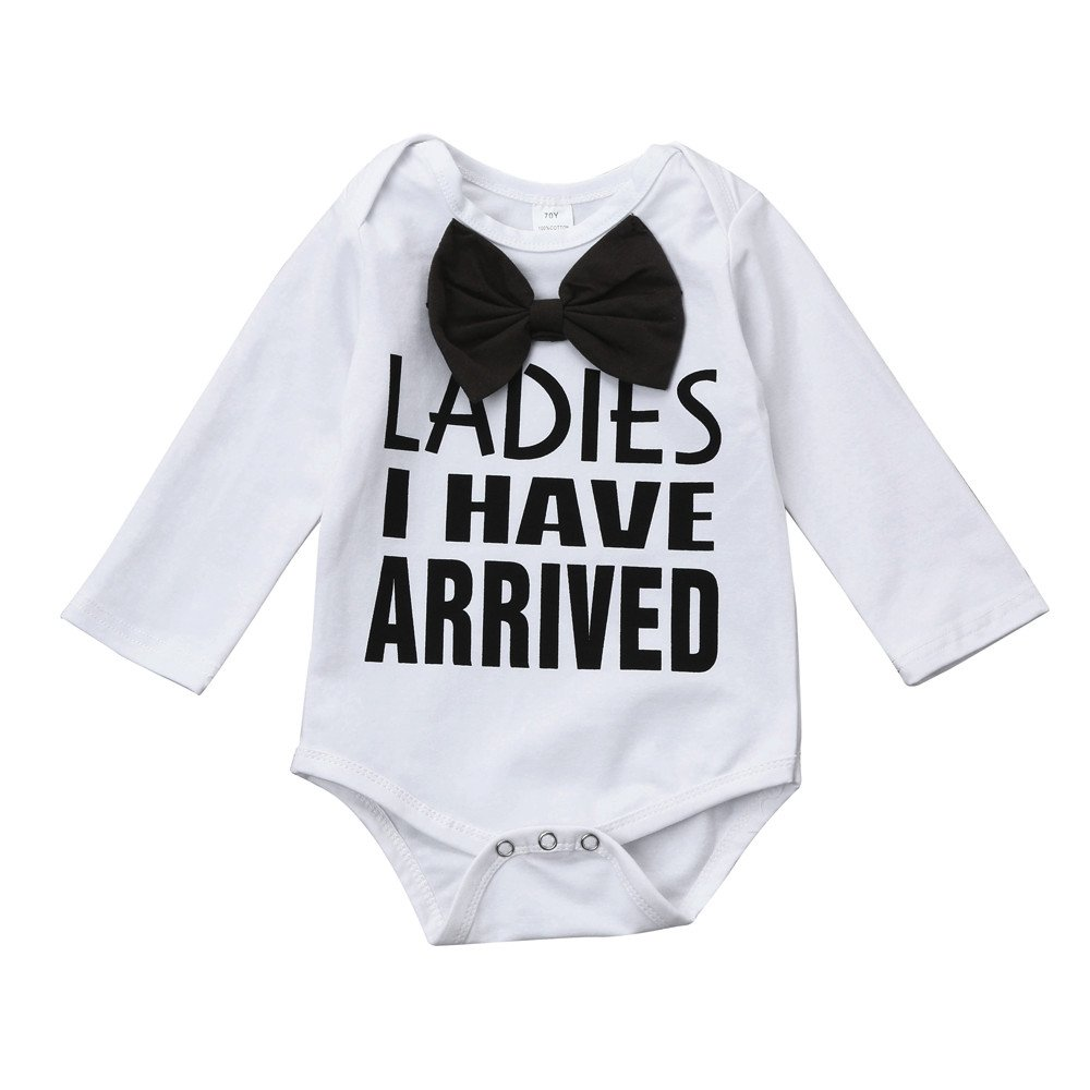 squarex Clearance Baby Boy Long Sleeve Letter Print Romper Outfits Clothes Set