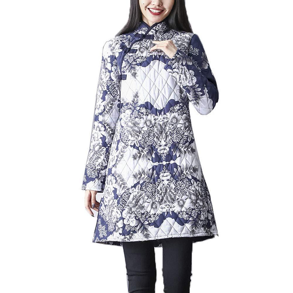 Goosuny Cheongsam Winterkleid Damen Warm Flora Druck Blumenkleider Loose Baumwolle Leinen Minikleid Folk-Custom Etuikleid Warm Langarm Kleid Kurze Freizeit Kleider Hemdblusenkleid