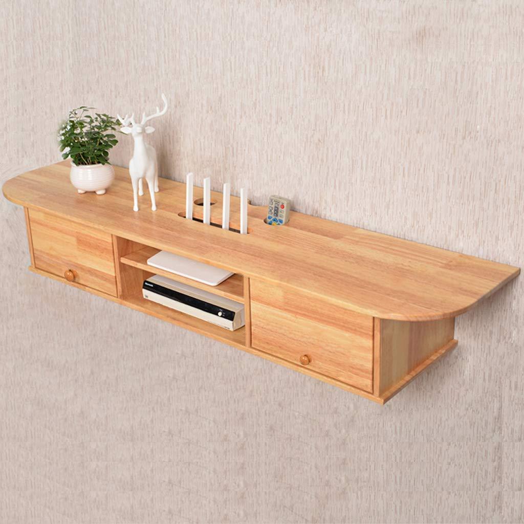 壁掛けテレビキャビネットフローティング棚壁掛け棚テレビコンソールルーターセットトップボックスDVDプレーヤー収納棚木製 (色 : Rubber wood) B07MCTSZC8 Rubber wood