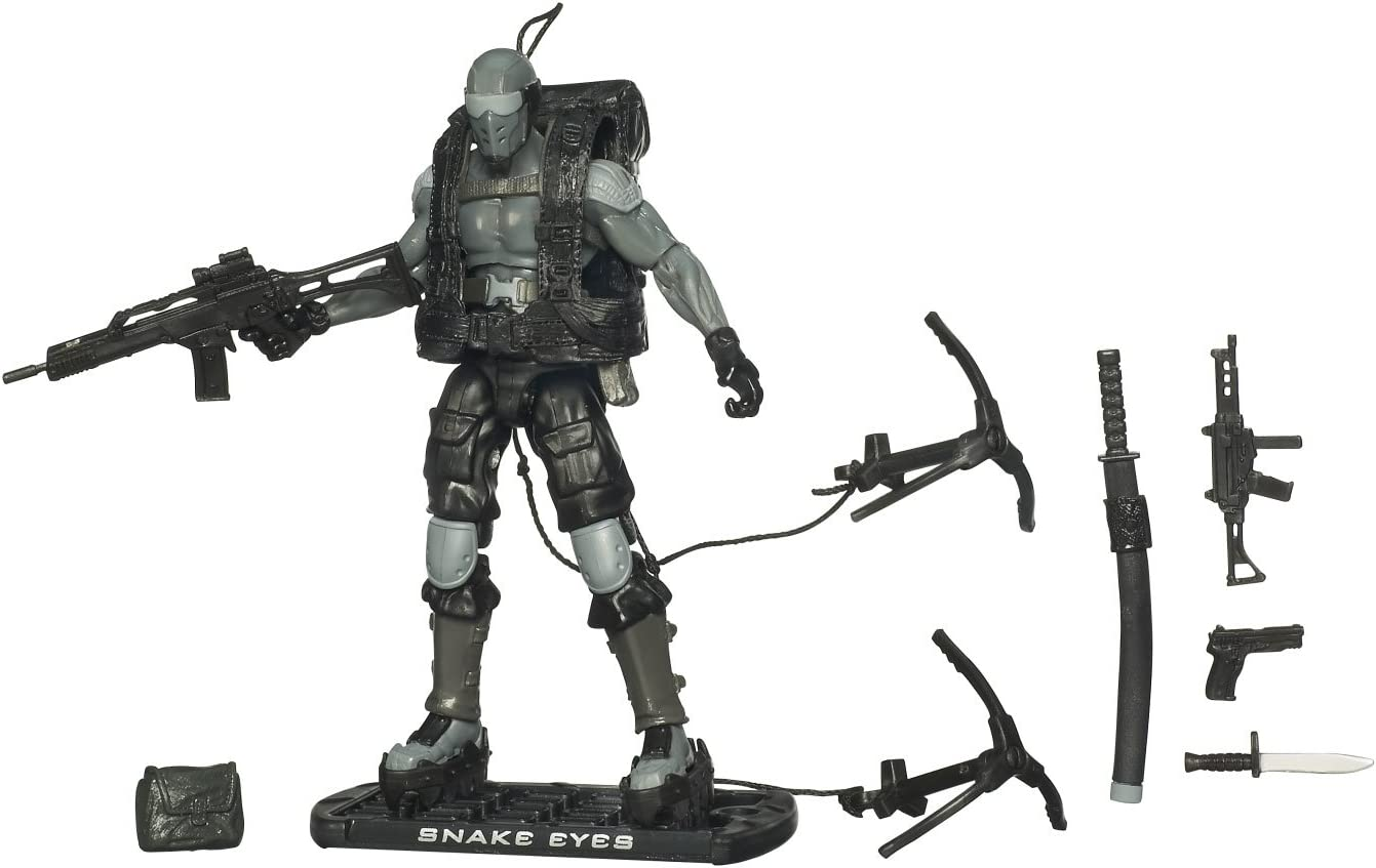 "3.75/"" Gi Joe Black Snake Eyes with Weapons Rare  Action Figure"