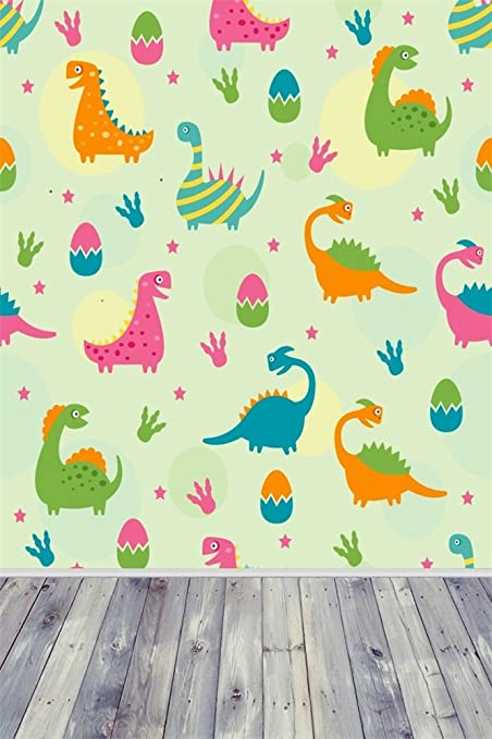 OFILA Dinosaur Backdrop 3x5ft Cartoon Wallpaper Children Room Decoration Kids Birthday Party Theme Eggs Strips