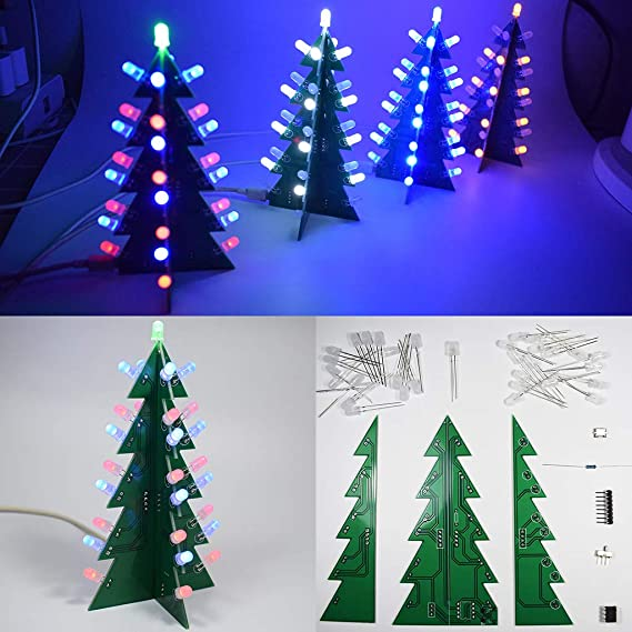 FLAMEER Mini Árbol de Navidad Led Luces Intermitentes Luz de Agua Kit de Producción de Bricolaje Partes: Amazon.es: Electrónica