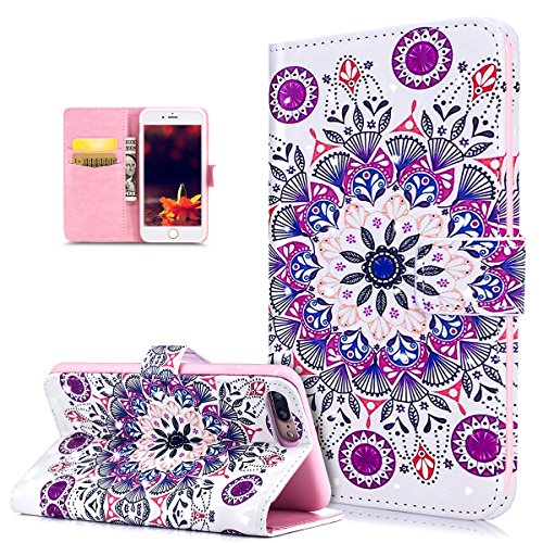 iPhone 8 Plus Case,iPhone 7 Plus Case,ikasus 3D Art Painted Flamingo Flowers Flip Folio Wallet PU Leather Stand Card Slot Protective Case Cover for iPhone 8 Plus / 7 Plus,Colorful Mandala Flower